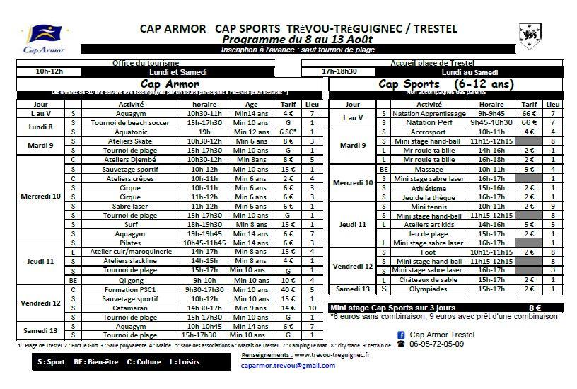 2016-08 programme Cap Armor du 8 au 15 août