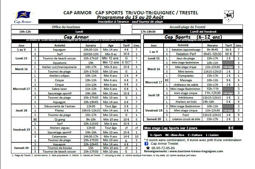 2016-08 programme Cap Armor du 15  au 20 août