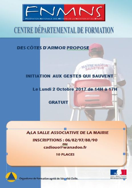 Trévou-Tréguignec  Olivier Cadiou propose de se former gratuitement aux Gestes qui sauvent le 2 octobre