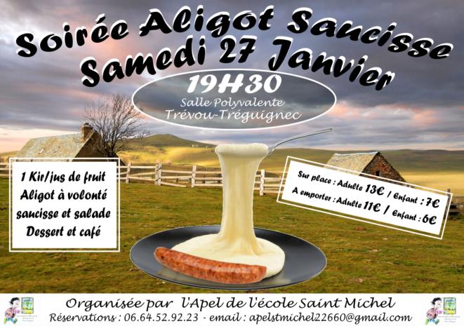 Trévou-Tréguignec  Repas montagnard  Aligot saucisse   proposé le samedi 27 janvier par les parents d'élèves de l'école St Michel