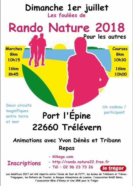 Trévou-Tréguignec / Trélévern Rando Nature  19ème édition  le dimanche 1er juillet pour les marcheurs et les coureurs. Horaires-programme…