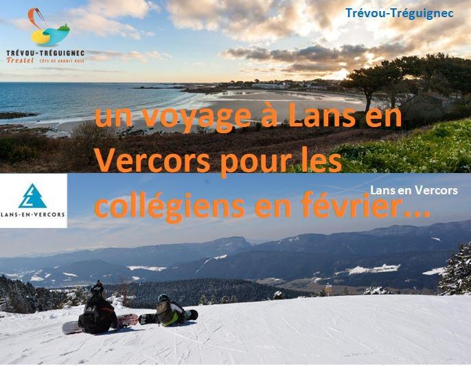 Trévou-Tréguignec  Jumelage un voyage à Lans-en-Vercors (Isère) pour les collégiens du 16 au 22 février 2019; pensez à inscrire vos enfants; paiement en 7 fois proposé