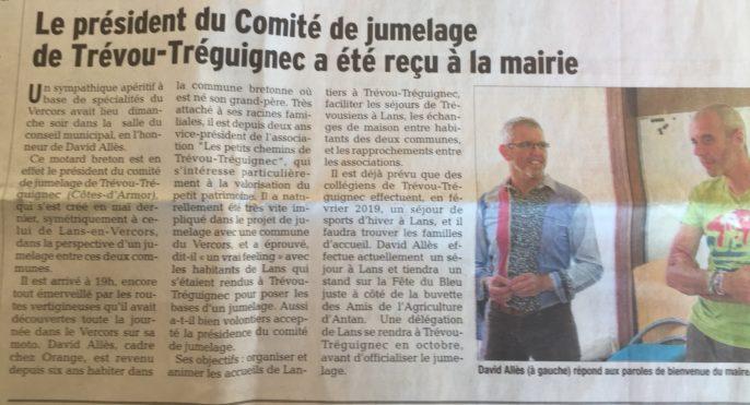 Trévou-Tréguignec / Lans en Vercors (Jumelage) ce week-end c'était la Fête du Bleu à Lans, David Allès notre président y était
