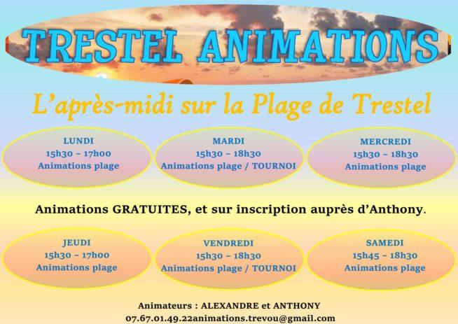 Trévou-Tréguignec Animations de la plage de Trestel      du 9 juillet au 18 août….  Programme de la semaine