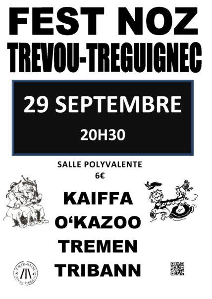 Trévou-Tréguignec samedi 29 septembre un fest Noz organisé à la salle polyvalente de Trévou par le groupe Triban