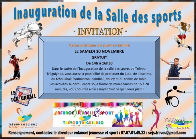 Trévou-Tréguignec la population est invitée à l'inauguration de la salle de sports le samedi 10 novembre de 14h à 17h30