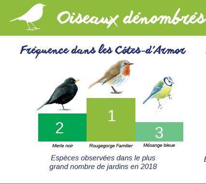Trévou-Tréguignec Et si les Trévousiens participaient en nombre au 11ème comptage des oiseaux des jardins?? les 26 et 27 janvier 2019; mais d'abord, place au bilan du comptage 2018: