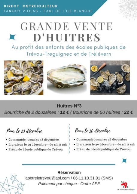 Trévou-Tréguignec les parents d'élèves de l'école publique vous proposent des bourriches d'huîtres de 2 douzaines ou de 50 huîtres  le 23 et le 30 décembre; direct du producteur