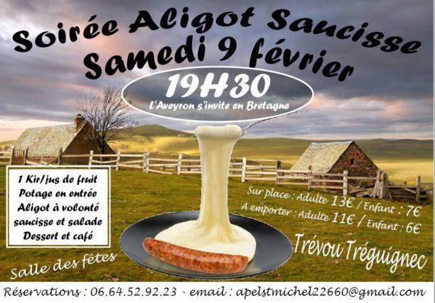 Trévou-T Un repas Aligot-Saucisse-salade  avec  apéritif, potage bio, tarte aux pommes, café-infusion le samedi 9 février organisé par l'école St Michel