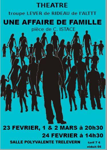 Un bon moment pour tous: le  théâtre de l'Amicale Laïque «une affaire  de famille» vendredi 1er  et samedi 2 mars
