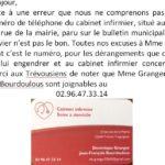 bulletin municipal N°71 Erreur de téléphone pour le cabinet infirmier Granger-Bourdoulous                  Trévou-Tréguignec