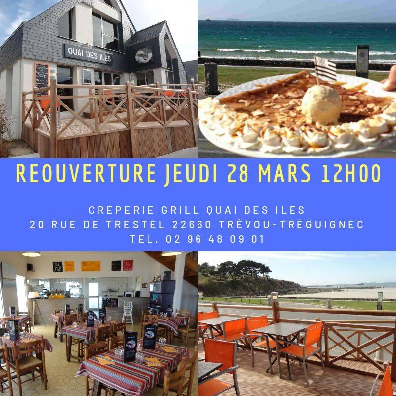 Le Quai des îles : crêperie Grill de Trestel repris par Yolène et Sylvain Cosset a ouvert ce jeudi. Le Breizh'ilien ré-ouvre ce vendredi: ça sent les beaux jours…                        Trévou-Tréguignec