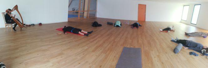 Stage de Yoga à la  harpe dimanche dernier à la salle annexe de la salle de sports                    Trévou-Tréguignec