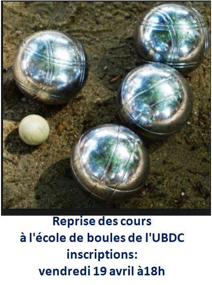 L'UBDC prendra les inscriptions pour l'école de boules le vendredi 19 avril à 18h à Kermaria                            Trévou-Tréguignec