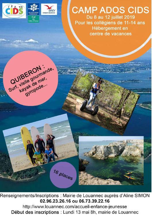 CIDS  camp ADOS à Quiberon surf +++   pour les 11à 14 ans      inscriptions en cours                             Trévou-Tréguignec