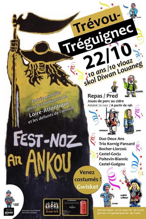Trévou-Tréguignec Fest-Noz de l'Ankou avec repas sur place, samedi 22 octobre