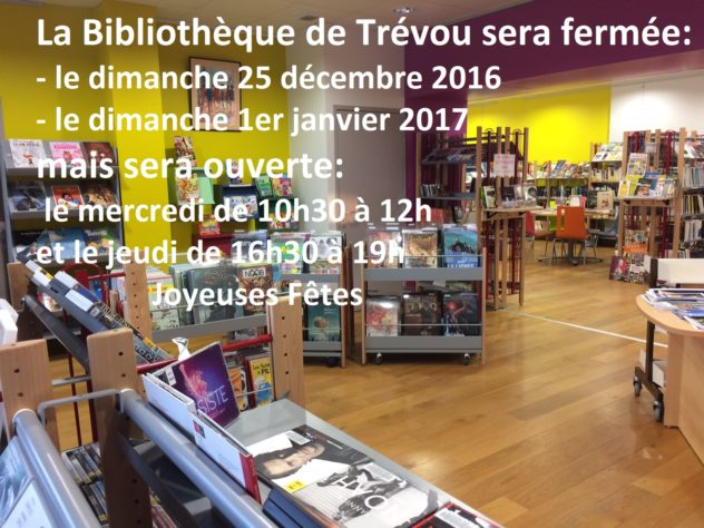 Trévou-Tréguignec Bibliothèque fermée le 25 décembre et le 1er janvier