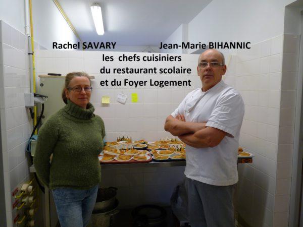 Trévou-Tréguignec Rachel Savary et Jean-Marie Bihannic chefs cuisiniers du restaurant scolaire et du Foyer Logement