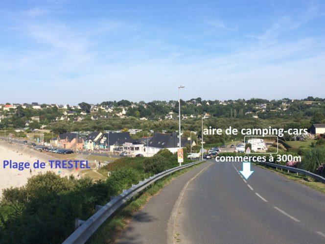 Trévou-Tréguignec aire de camping-cars  à 30m de la plage et des restaurants: tarifs: haute saison: 8€; basse saison: 6€ la nuitée