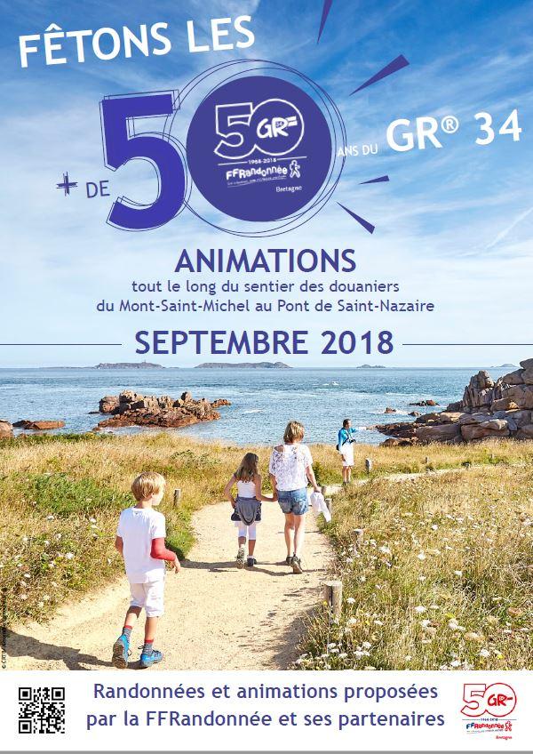 Trévou-Tréguignec Le GR34 traverse notre commune… et fête ses 50 ans tout au long du mois de septembre… découvrez le programme des animations
