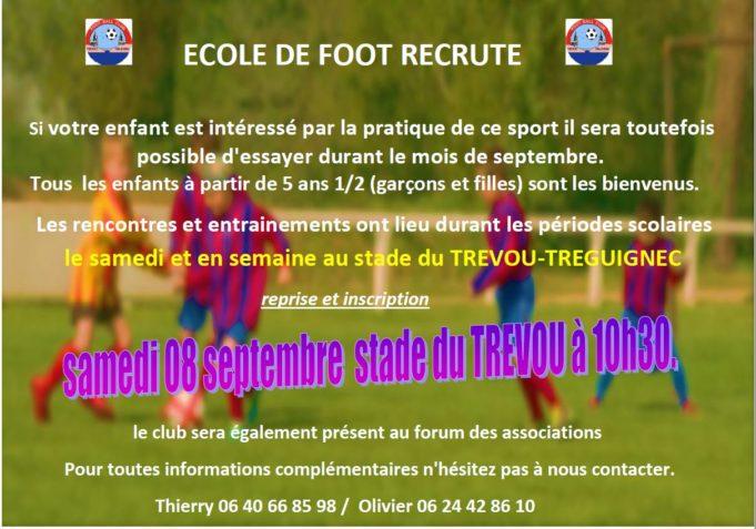 Trévou-Tréguignec FCTT Football Club Trévou-Trélévern  le foot une activité pour toutes et tous  dès 5ans 1/2