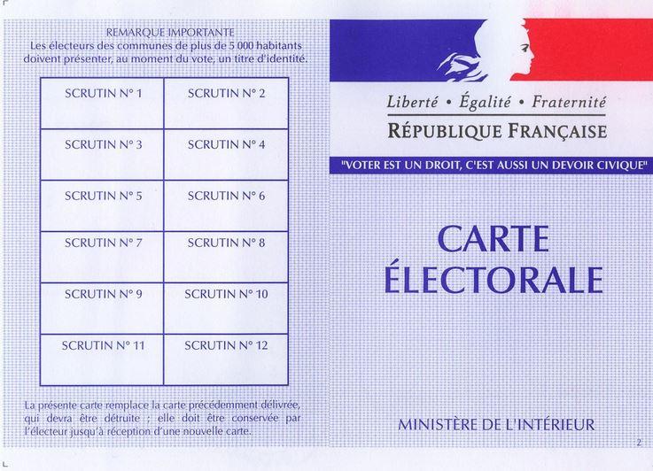 carte d électeur à imprimer Bureau de vote à la mairie de 8h à 18h ce dimanche. Si vous n'avez