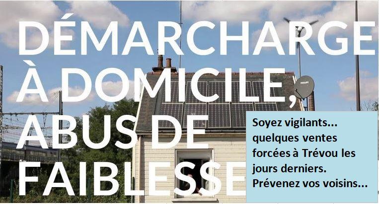 """Des  démarchages """"agressifs et abusifs"""" ont été signalés sur le territoire de la commune par APB de Blainville sur Orne. Soyez vigilants, prévenez vos voisins, de tous âges….                            Trévou-Tréguignec"""
