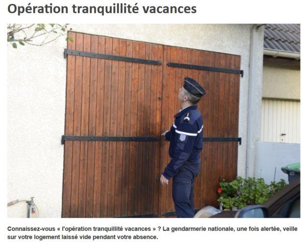 Le Ministère de l'Intérieur et la Gendarmerie informent sur l'opération Tranquillité Vacances pour les particuliers                Trévou
