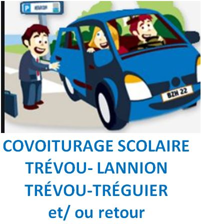 Les familles intéressées par du covoiturage scolaire pour le transport des enfants vers les établissements scolaires de  Tréguier et Lannion peuvent se faire connaître