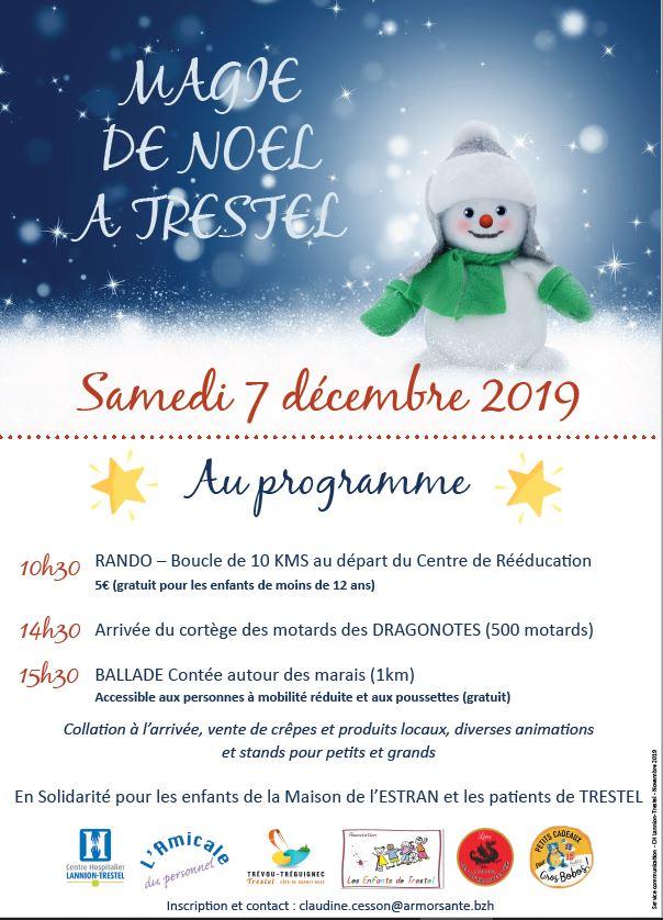 La magie de Noël à Trestel ce samedi 7 décembre:  une rando de 10km à Trestel en Trévou à 10h30; l'arrivée des motards à 14h30 et une ballade contée d'1 km autour du marais  à 15h30. Pensez à vous inscrire.. au profit des patients de Trestel et des enfants de l'Estran