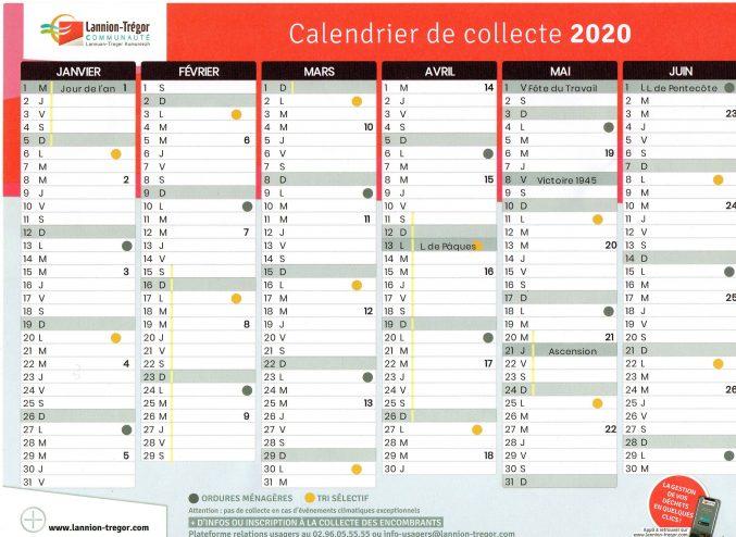 Planning de collectes des ordures ménagères/ tri sélectif/ année 2020                       Trévou-Tréguignec