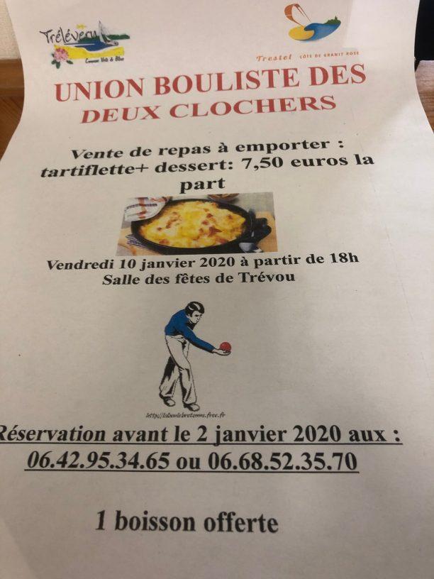 Les boulistes de l'UBDC vous invitent à commander avant le 2 janvier un repas tartiflette-dessert qui sera à emporter le vendredi 10 janvier (7€50 seulement!) en prenant un petit verre…