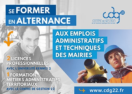 Le Centre de Gestion des Côtes d'Armor et l'Université de Rennes 2 proposent une Licence pour former aux métiers administratifs et techniques des collectivités locales.