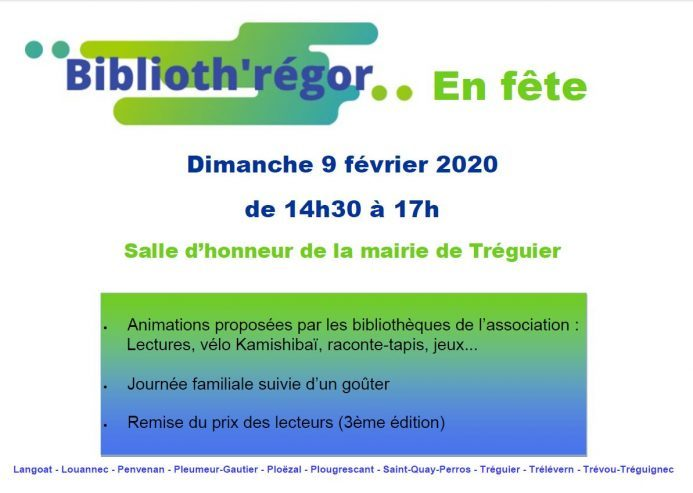 Biblioth'régor en Fête le dimanche 9 février, salle d'honneur de la mairie de Tréguier de 14h30 à 17h (animations-goûter++) gratuit, ouvert à tous