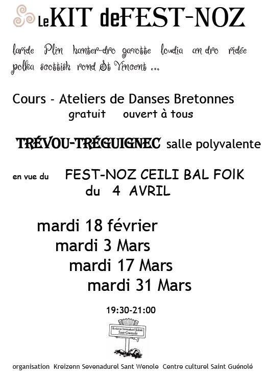 Fest Noz reporté.                     Un grand Fest-Noz le 4 avril et des cours gratuits de danses bretonnes pour s'y préparer: le mardi 18/02,  03/03, 17/03 et  31/03 de 19h30 à 21h. Soyez nombreux à en profiter! Centre Culturel Saint Gwénolé (photos du 18 février)