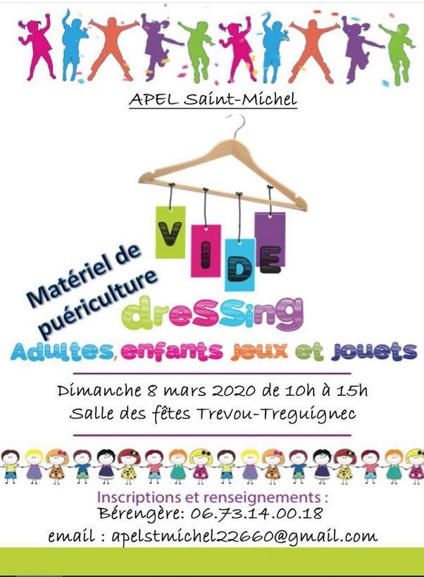 Vide-dressing:  matériel de puériculture, adultes, enfants, jeux, jouets, dimanche 8 mars de 10h à 15h. Org: Parents d'élèves école St Michel Trévou