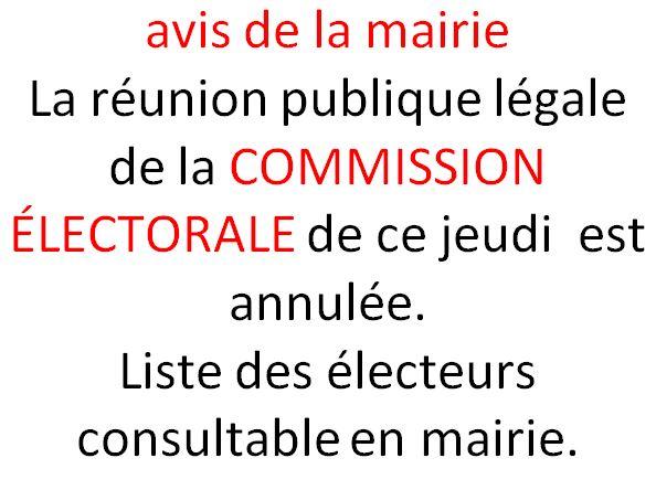 La réunion publique annoncée dans la presse ce jeudi pour la liste menée par  Pierre ADAM est en fait une COMMISSION ÉLECTORALE pour analyser les électeurs inscrits à Trévou. Elle était ouverte à tous  mais a dû être annulée …