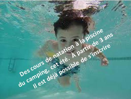 Des stages de natation enfants et adultes à la piscine du Camping Le Mât de Trestel en Trévou-Tréguignec; inscriptions en cours…