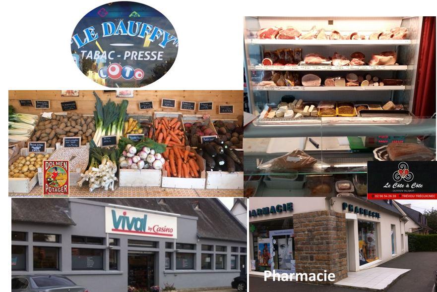 Commerces de Trévou :  épicerie, pain, pizzeria, boucherie/traiteur, fruit-légumes bio,  mais aussi les services de la pharmacie, des infirmiers, des kinés, du tabac-presse, du garage,