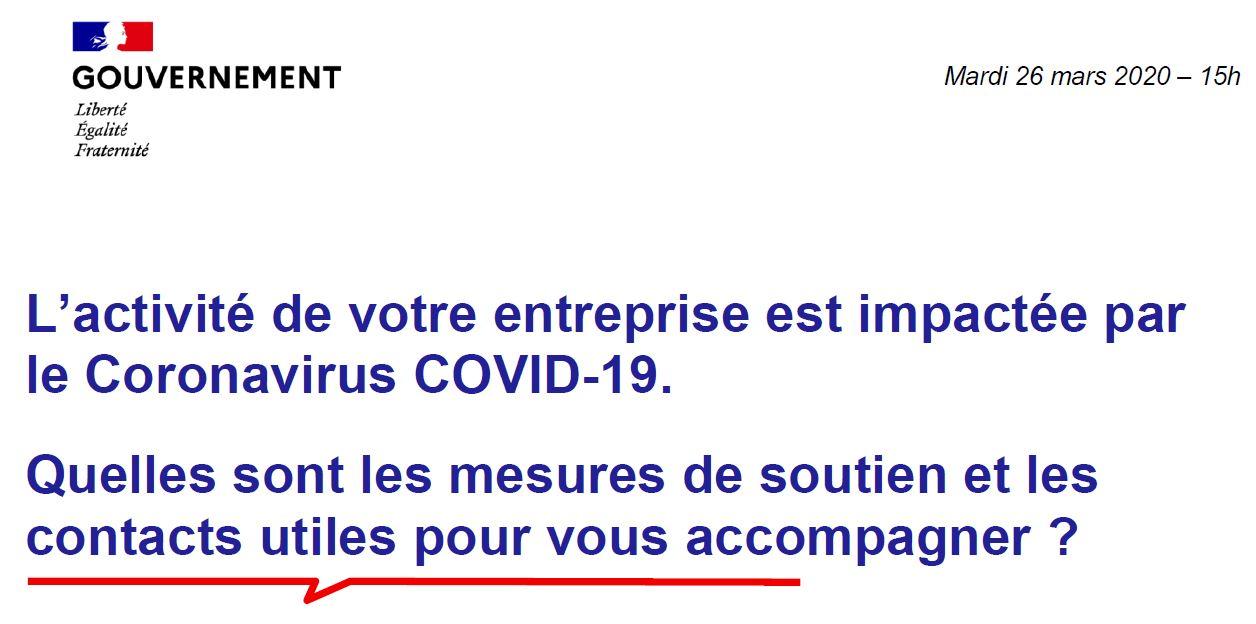 Informations du Ministère de l'Économie et des Finances aux entreprises impactées par le Covid-19