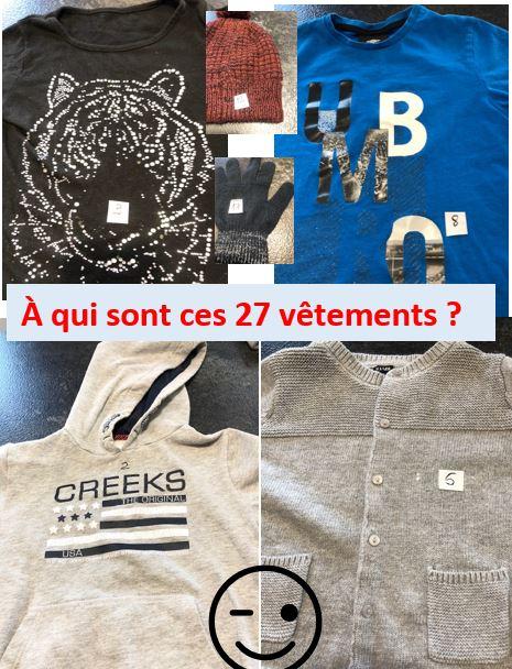 Avis aux propriétaires des 27 vêtements oubliés à la garderie de Trévou…  Il reste encore 12 vêtements sur 27 sans  propriétaires…
