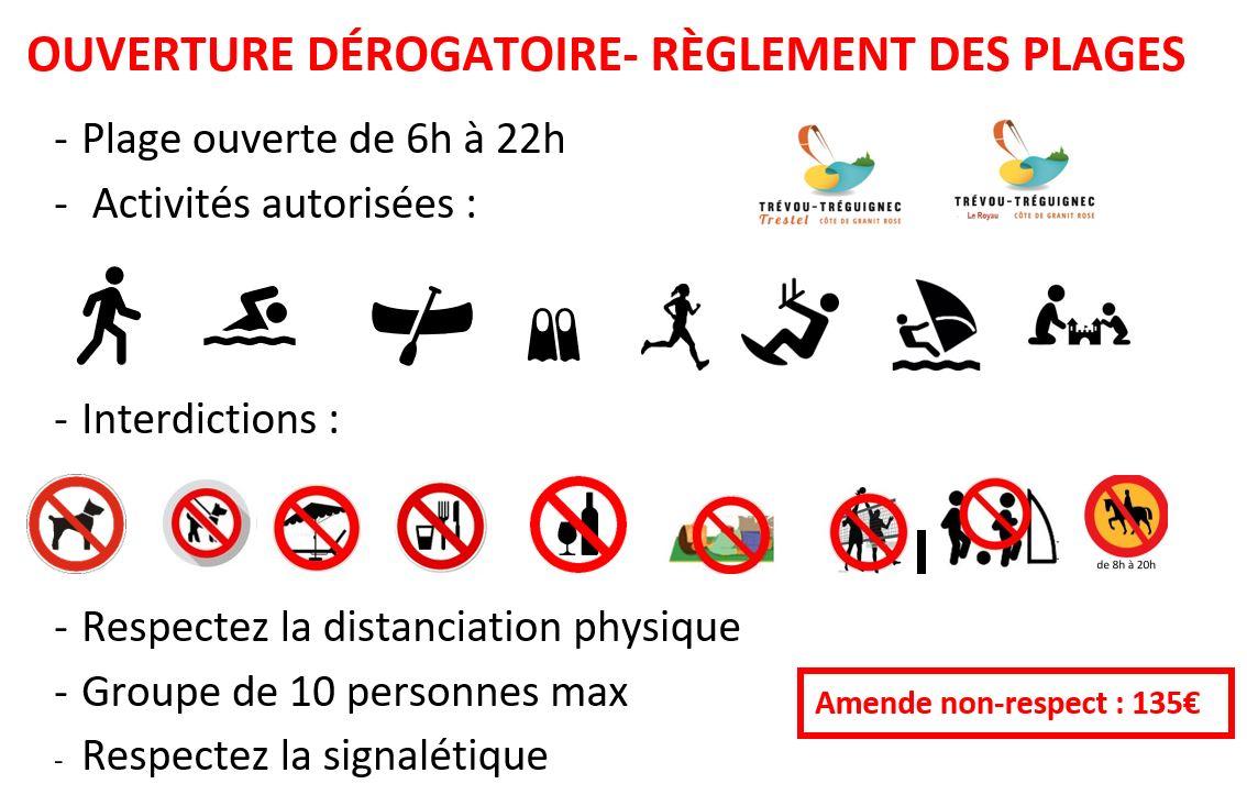 Plages de Trestel et du Royau en Trévou-Tréguignec ouvertes;  quelques règles à respecter pour éviter des fermetures.