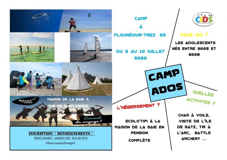 CIDS  un camp ados en début d'été à Plounéour-Trez ; il reste 2 places. (à saisir…)