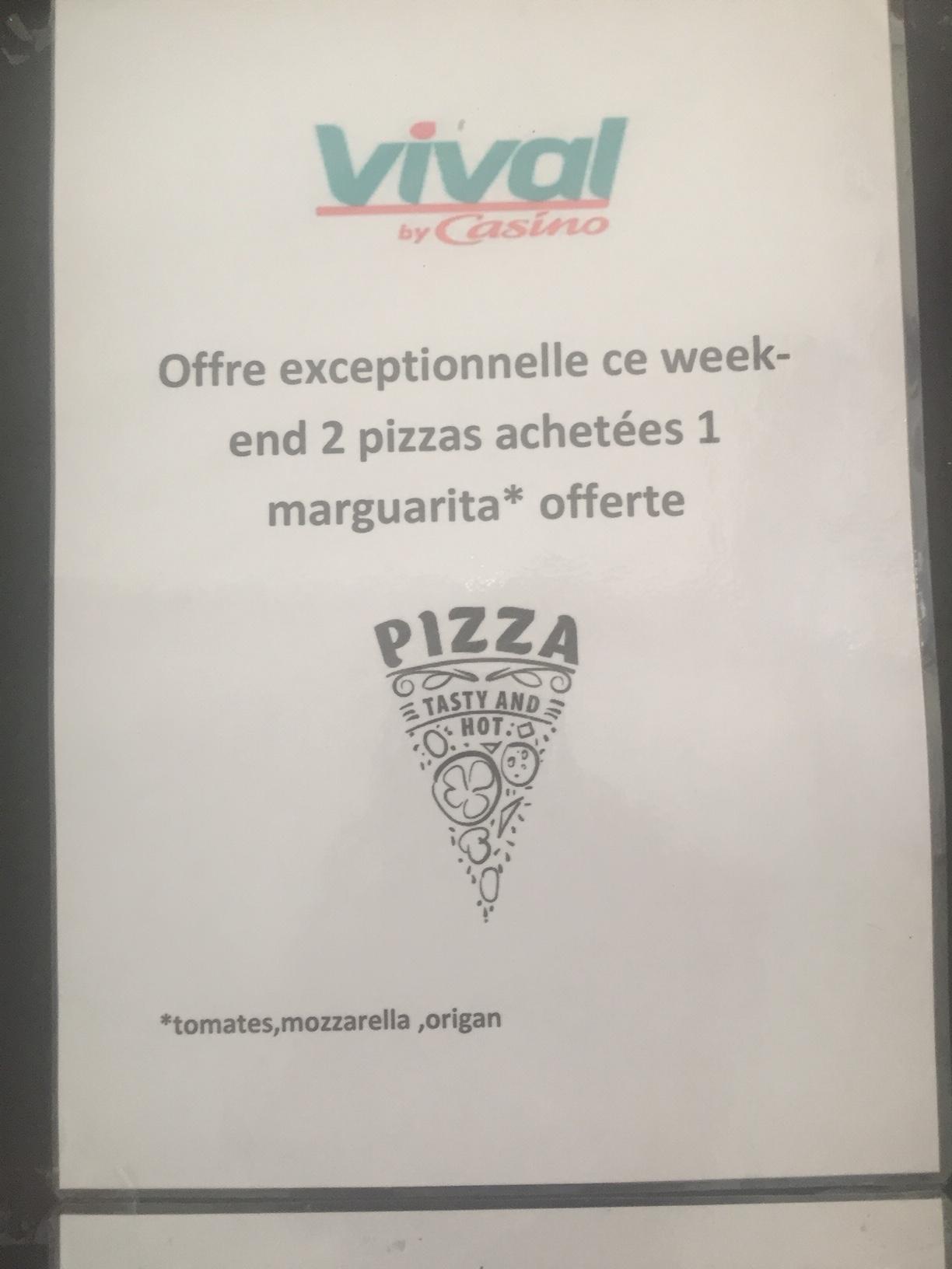 Offre pizzas ce week-end au Vival de Trévou-Tréguignec :  2 pizzas achetées, une 3ème offerte