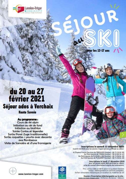 Le CIAS de Lannion Trégor Communauté propose un séjour au ski pour les ados de 12 à 17 ans en février prochain
