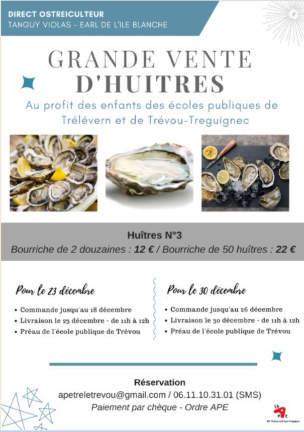 Les Parents d'Élèves du RPI  (Écoles Publiques Trévou-Trélévern) vous invitent à commander des huîtres pour les Fêtes.. prochaines commandes  à passer avant dimanche soir