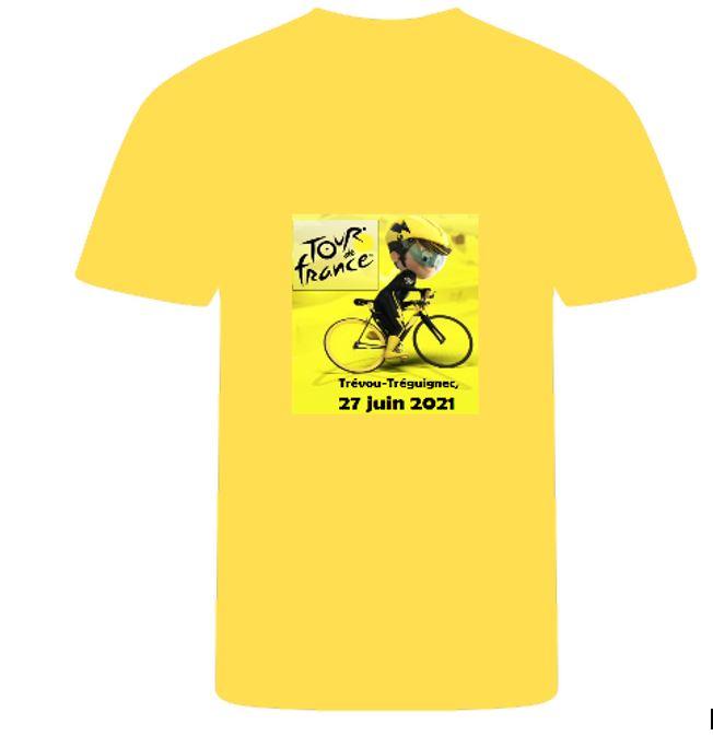 Le Tour de France passera à Trévou le 27 juin… et si vous vous équipiez d'un maillot jaune …. Offre du Comité de Jumelage. Il est encore possible de commander (très vite) …