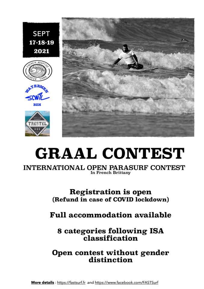 Première compétition internationale de parasurf Français. Le Graal Contest organisé en Bretagne par FAST, le SCWAL et Trestel surf club ! 17-18 et 19 septembre 2021